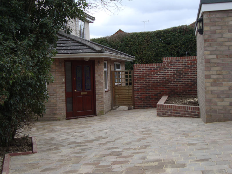 Driveway and garden wall